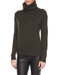 Theory - Green Lanola Ribbed Cashmere Turtleneck Sweater - Lyst