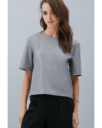 Forever 21 | Gray Private Archives Perforated Faux Leather Top | Lyst