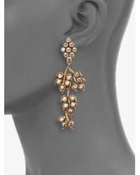 Oscar de la Renta - Green Vine Clipon Drop Earrings - Lyst