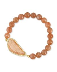 Tai | Brown 8mm Agate Beaded Bracelet | Lyst