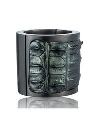 Nada Sawaya | J35 - Crocodile Stretch Cuff - Metallic Green | Lyst