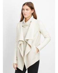 Vince - White Wool Blend Drape Neck Jacket With Leather Sleeves - Lyst