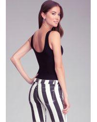 Bebe | Black Andrea Mesh Inset Bodysuit | Lyst
