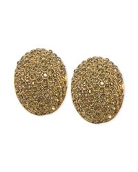 Carolee | Metallic Silvertone Pavé Crystal Button Earrings | Lyst