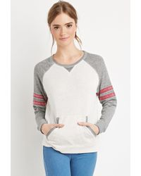 Forever 21 - Natural Varsity-stripe Heathered Sweatshirt - Lyst