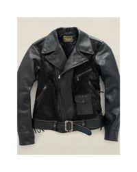 RRL - Black Leather Motorcycle Jacket for Men - Lyst