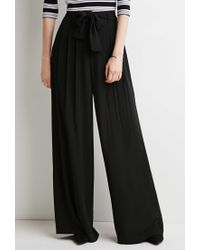 Forever 21 | Black Belted Wide-leg Pants | Lyst