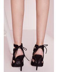 Missguided - Laser Cut Heeled Sandals Black - Lyst