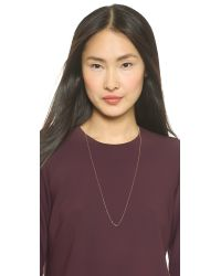 Ginette NY - Pink Mini Tube & Diamond Sautoir Necklace - Rose Gold - Lyst