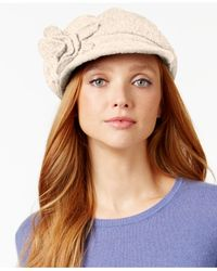 Nine West | White Flower Wool Knit Newsboy | Lyst