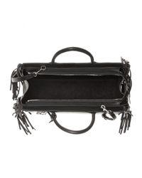 Saint Laurent - Black Fringed Leather Shoulder Bag - Lyst