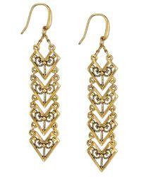 Tru. - Metallic Gold-tone Matte Antique Chevron Linear Earrings - Lyst