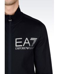 EA7 - Blue Zip Sweatshirt for Men - Lyst