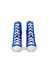 Moschino | Blue Lace-Up Canvas Sneaker Boots | Lyst