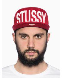 Stussy - Red Snapback for Men - Lyst