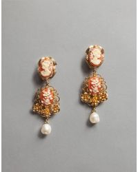 Dolce & Gabbana - Pink Cameo Earrings - Lyst
