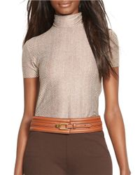 Lauren by Ralph Lauren | Brown Short-sleeved Turtleneck Top | Lyst