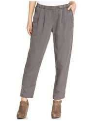 Eileen Fisher - Gray Pleated Relaxed-Leg Ankle Pants - Lyst