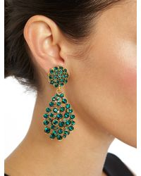 Oscar de la Renta - Green Pave Teardrop Earring - Lyst