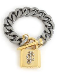 Juicy Couture | Metallic Chunky Jc Padlock Chain Bracelet | Lyst