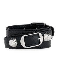 Balenciaga - Black Giant 12 Leather Stud & Buckle Belt Bracelet - Lyst