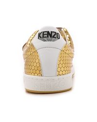 KENZO | Metallic Gold Leather Sneakers - Or | Lyst