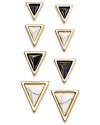 House of Harlow 1960 | White Gold-tone Triangle Stud Earring Set | Lyst