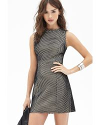 Forever 21 | Black Textured Mesh Shift Dress | Lyst