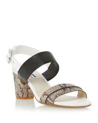 Dune - Black Joro Snake Leather Heels - Lyst