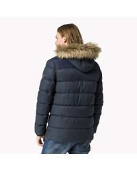 Tommy Hilfiger | Black Insulated Hooded Jacket for Men | Lyst