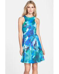 Cece by Cynthia Steffe | Blue 'maggie' Print Scuba Fit & Flare Dress | Lyst