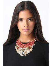 Bebe | Multicolor Crystal Ribbon Bib Necklace | Lyst