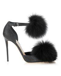 Jimmy Choo - Dolly 110 Black Fine Glitter Pointy Toes With Fox Fur Pom Poms - Lyst