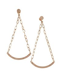 Sydney Evan | Metallic Rose Gold And Diamond Bar Sling Warrings | Lyst