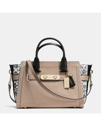 COACH - Brown Swagger In Colorblock Exotic Embossed Leather - Lyst