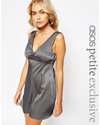 ASOS - Gray Petite Satin Skater Dress With Button Detail - Lyst