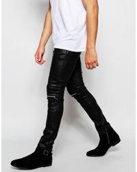 ASOS - Black Super Skinny Jeans With Biker Details for Men - Lyst