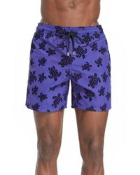 Vilebrequin | Purple 'moorea' Flocked Turtles Swim Trunks for Men | Lyst