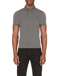 Ralph Lauren | Gray Branded Stretch-cotton Polo Shirt for Men | Lyst