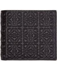 Loewe - Black Leather Engraved Logo Wallet for Men - Lyst