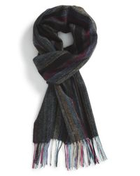 Paul Smith - Gray Stripe Wool Scarf for Men - Lyst