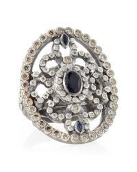 Armenta | Metallic New World Shield Ring With Diamonds & Sapphires | Lyst
