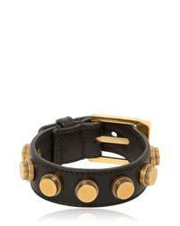 Saint Laurent | Black Studded Leather Bracelet for Men | Lyst