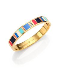 kate spade new york | Multicolor Jump For Joy Enamel Striped Idiom Bangle Bracelet | Lyst