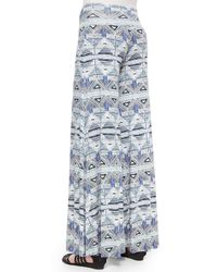 Rachel Pally - Blue Stencil-print Wide-leg Trousers - Lyst