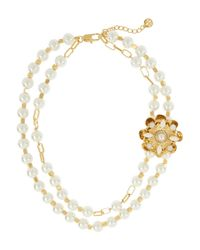 Tory Burch - White Tilde Gold-Plated, Faux Pearl And Crystal Necklace - Lyst