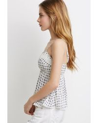 Forever 21 | Natural Crochet-trimmed Floral Print Cami | Lyst