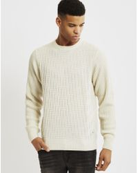 Bellfield | White Geysir Textured Jumper Cream for Men | Lyst