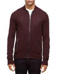 Kenneth Cole | Purple Faux Leather-accented Knit Zip Front for Men | Lyst