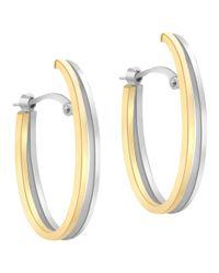 Ib&b | Metallic 9ct Gold Two Tone Double Oval Huggy Earrings | Lyst